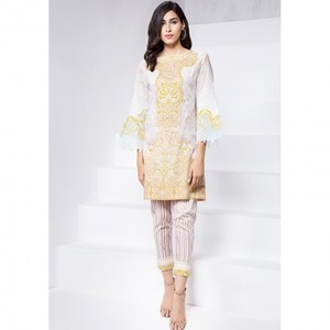 Ombre Collection 18 - Peach Unstitched 2 Piece with Printed Trouser JC-12-18 By Alkaram