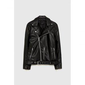 Black Faux Leather Biker Jacket 1017 By Di Pelle
