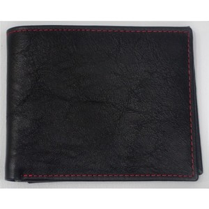 Slim Leather Bifold Wallet - Black with Red/ Orange Contrast-GW 115