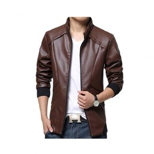 Slimfit Stylish Casual Brown Jacket Faux Leather 40 Otf -Brown By Cavalry.pk