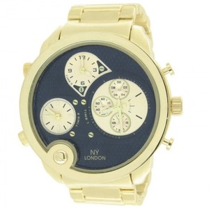 14K Yellow Gold 3 Time Zone With Black Dial Designer Watch For Mens