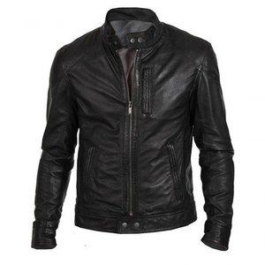 Black Premium Faux Leather Regular Fit Racer Jacket Biker Hunt Men By Cavalry.pk
