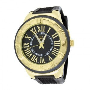 14K Yellow Gold Finish Roman Numeral Mens Watch
