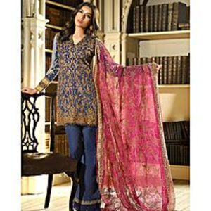 Asim JofaNavy Blue Embroidered Unstitched Luxury Lawn 3Pcs Suit for Women