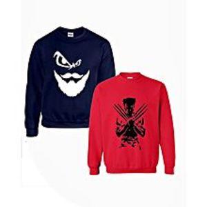 BuysensePack Of 2 - Multicolor Printed Round Neck Sweatshirt For Women