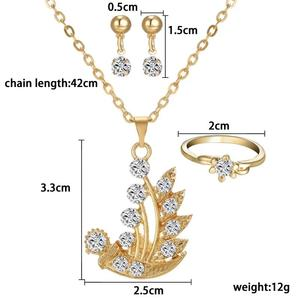 Women Jewelry Set Crystal gold Plant Pendant Necklace Earring Ring Set