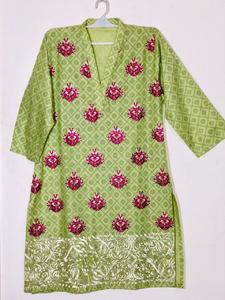 Pista Green with Pink and Cream - Stylish Embroidered Shirt/Kurta For Women - Stitched