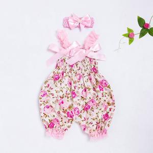 BlingBlingStar Summer Toddler Baby Boys Girls Floral Romper Bodysuit Jumpsuit+Headband Set Outfit