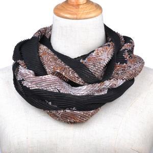 Women Soft Chiffon Print Convertible Infinity Loop Scarf Scarves