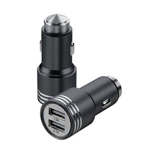 Metal 2 USB Port Car Charger for Samsung / iPhone / Motorola / Infinix / Xiaomi / LG / Huawei / Lenovo - 2.1mA - Black