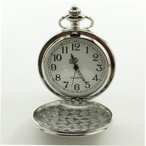 UR Antique Hollow Out Round Dial Quartz Pocket Watch Necklace Pendant Clock silver