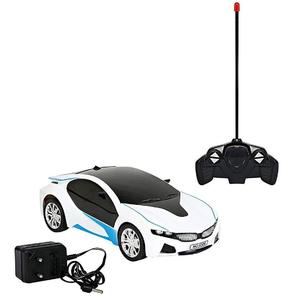 3D Famous RC Rechargeable Car with LED lights - Operate With Remote Control - White