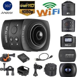 Andoer 360 Degree Panorama VR Camera Aperture F 2.0 and Effective Focal Length f=1.1mm. Full HD 1080P Wifi Action Camera 8MP 220 degree Fisheye Wide-angle Lens Mini Camcorder DV