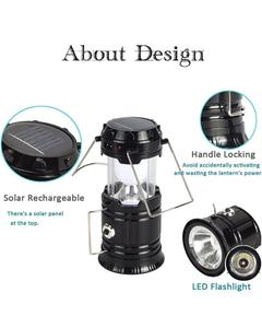 Solar Led Flashlight Camping Lights - Rechargeable Lantern