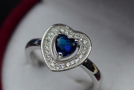 Women Heart Cut Blue Gemstone Ring Lab Topaz Ring Engagement Ring Sterling Silver 925 Ring Handmade Topaz Ring Wedding Ring