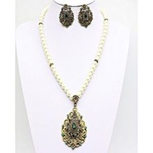 hanya collectionTurkish Maharani Pearl Vintage Green Beads Necklace And Earrings