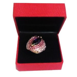 Crystals Moonlight Sapphire Gold Plated Ring For Women - 045