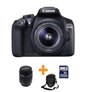 CANON EOS-1300D - 18MP - DSLR Camera With 55mm Lens + 16GB Card + Bag - Black