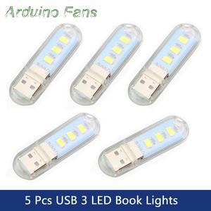 Whole Sale Pack of 5 Mini USB LED Book Lights Night Lamp 3 LEDs Portable Camping Light For PC Laptops Mobile Power Bank Charger