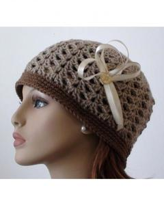 Crochet Two Color Wool Cap For Women