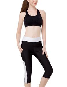 Women Quick-dry Outdoor Sports Fitness Pants Matching Color Cropped Trousers with Side Pockets