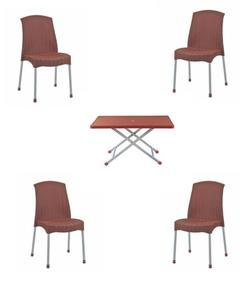 (Boss) Set Of 4 Plastic Rattan Chairs And Folding Table- Brown