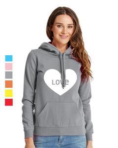 Rex Bazar - Grey Love Printed Hoodie For Women