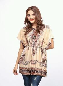 Brown Ity China Fabric Tunic For Women