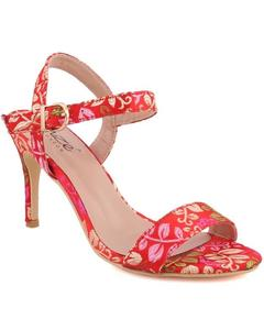 """Red Fabric Women """"QUINTY"""" Ankle Strap Printed Stiletto Slip On Sandals L30655"""