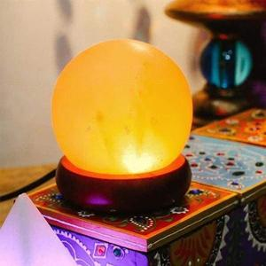 Beautiful Ball Shape USB Salt Lamp With Wood Base Included USB Electric Wire