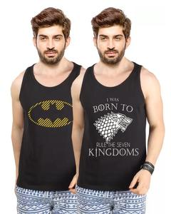 Set Of 2 - Game Of Thrones & Batman Cotton Printed Vest For Men