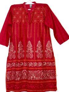 Red with Zari Stylish Embroidered Shirt/Kurta For Women - Stitched