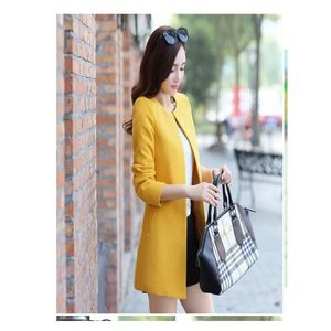 Fleece Stylish O-Neck Trench Long Coat For Women