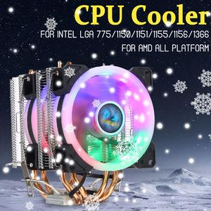 【Free Shipping + Flash Deal】CPU Cooler 4 Heatpipe Twin-Tower LED RGB Fan 90mm for LGA 775/1150-1156/1366 AMD