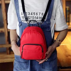 Women Mini Backpack Nylon Shoulder School Travel Bag Small Casual Rucksack Tote Red