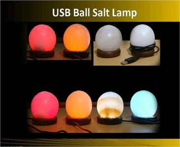 Round Shaped Mini Salt Lamp Color Changing USB Plug Operated Table Lamp