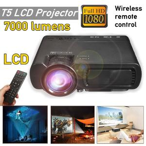 7000LM HD 1080P T5 LCD projector Beamer USB VGA HDMI AV TF For Home Theatre Movie