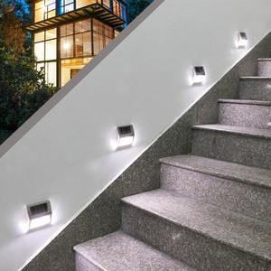 2LED Modern Solar Wall Lamp Stainless Steel Sensor Light Waterproof