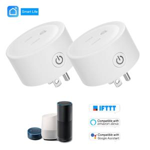 Mini Smart WiFi Socket Remote Control by Smart Phone from Anywhere Timing Function, Voice Control for Amazon Alexa and for Google Home IFTTT,2 Packs White