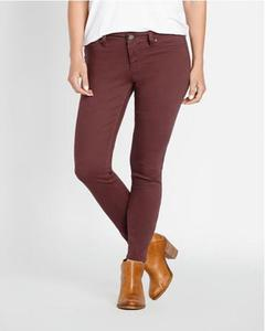 Maroon Cotton Slim Fit Jeans For Women