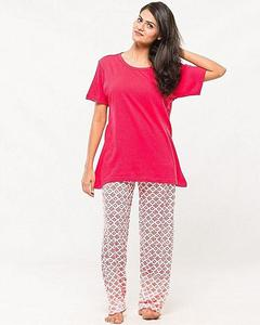 AEYS - Pack Of 2 - Red Shirt & Trouser Nightwear Suit For Women