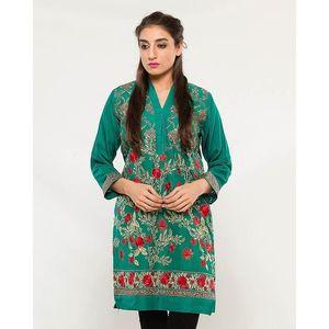 CARDINAL KNKE3  - Dark Green Embroidered Cotton Khadi Kurti For Women