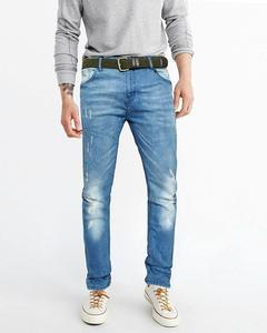 Light Blue Faded Slimfit Jeans With Belt For Men