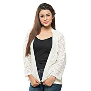 ESSEMM Collections White Net Embroidered Jacket For Women