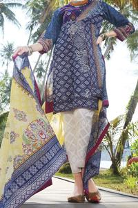 Almirah Summer Spring Collection Vol.01 2019 Blue Lawn 3pcs Stitched Suit For Women