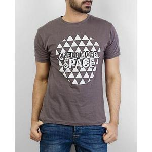 Grey Cotton I Need More Space Printed T-Shirt