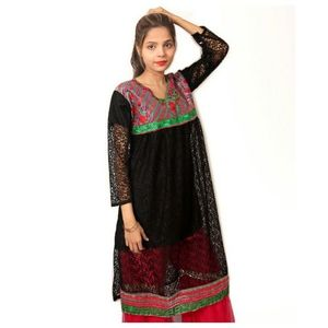 Black Net Embroidered Kurti For Women