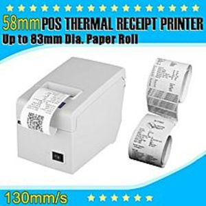 iShow Plus USB 58mm Thermal Dot Receipt Printer Suitalble For 83mm Dia. Roll EU Plug - White
