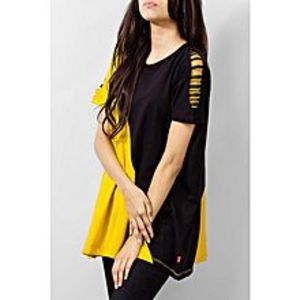 River Rock Mustard & Black Cotton Tunic With Twill Tape On Sleeve