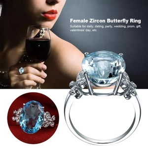 Women Zircon Butterfly Party Wedding Metal Plated White Gold Jewelry Ring (9#)